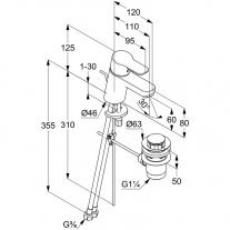 Baterie lavoar Kludi, Pure & Easy, cu ventil, 6 cm, crom