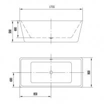 Cada freestanding, Florida, Quadro New 175, dreptunghiulara, cu instalatie completa, alb
