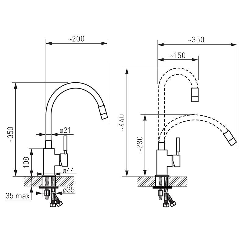 Baterie de bucatarie, Ferro, Zumba, cu pipa flexibila galben