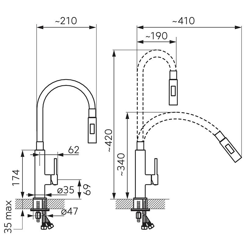 Baterie de bucatarie, Ferro, Zumba Slim 2F, cu pipa flexibila, galben