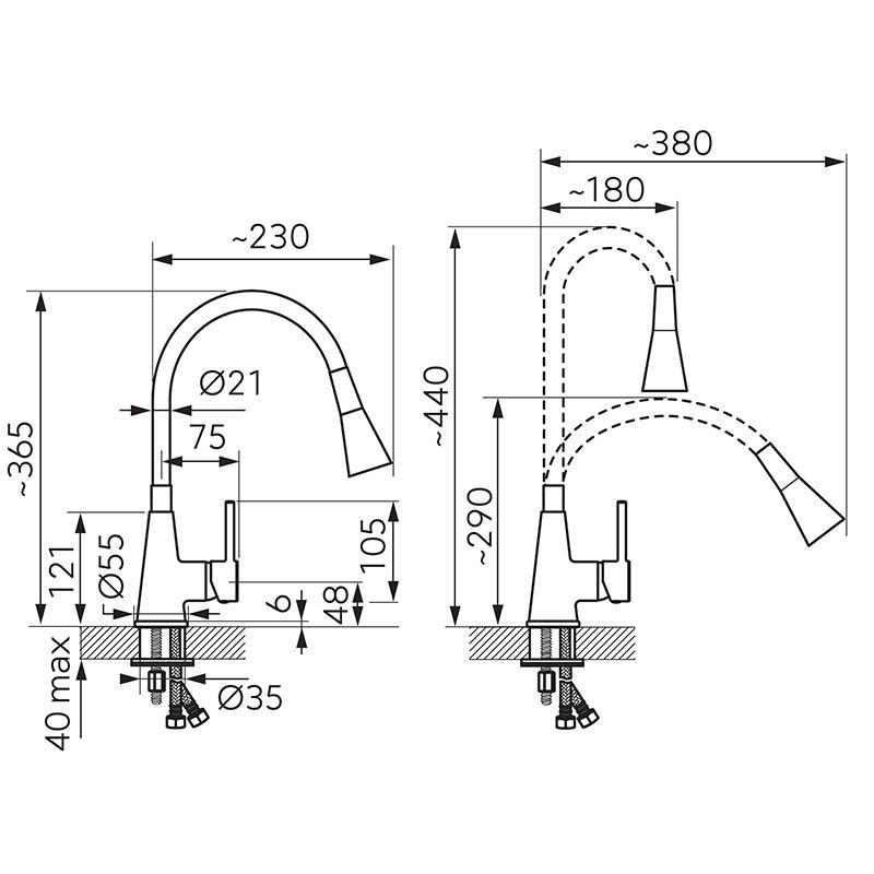 Baterie de bucatarie, Ferro, Zumba II, cu pipa flexibila, galben