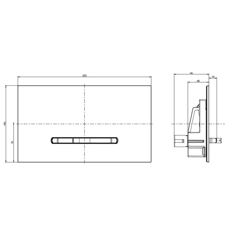 Clapeta de actionare, Villeroy & Boch, ViConnect, cu actionare dubla, crom lucios, 25,3 x 14,5 x 20 cm