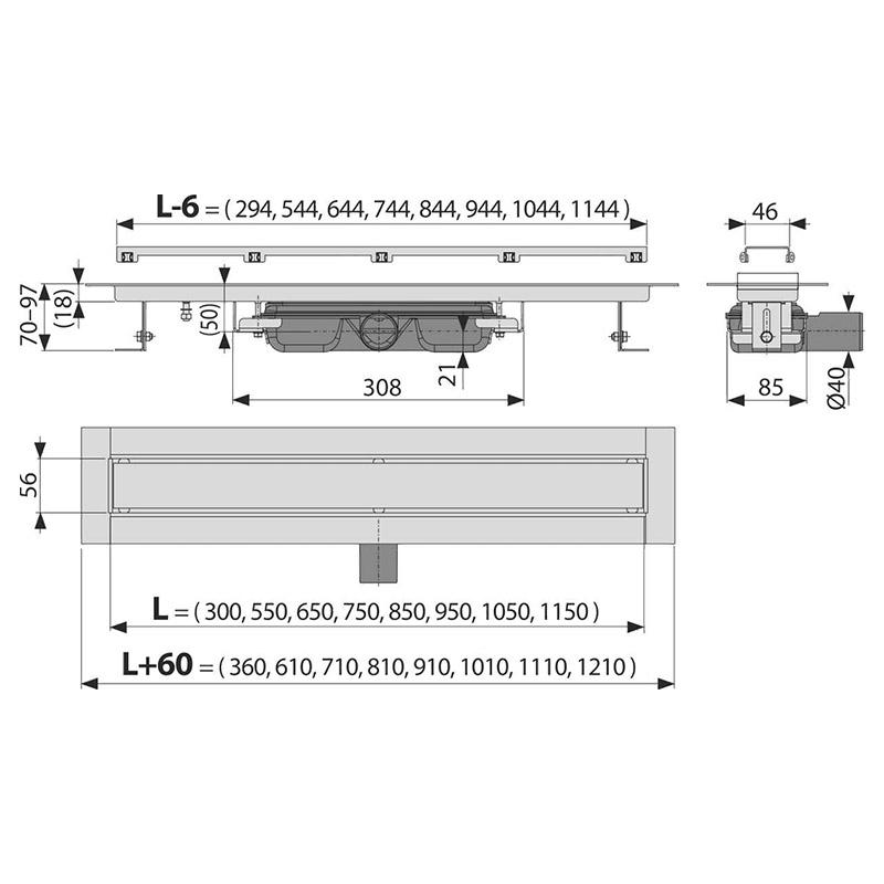 Set rigola de dus cu capac faiantabil, AlcaPlast, APZ115 MARBLE LOW 65 cm