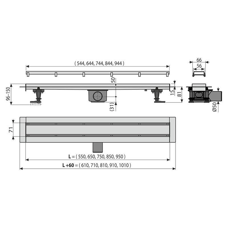 Set rigola de dus cu capac faiantabil, AlcaPlast, APZ13-DOUBLE9 FIT AND GO 95 cm