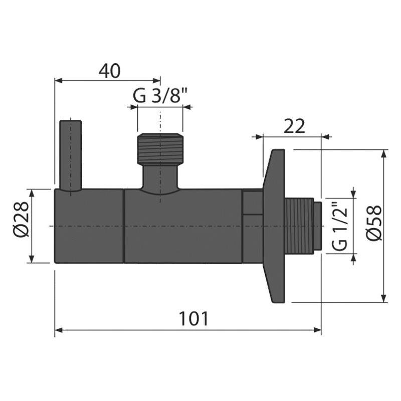 Robinet coltar, AlcaPlast, cu filtru 1/2, negru mat