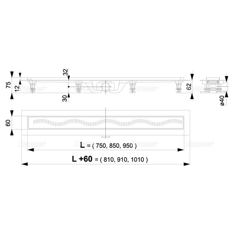 Set rigola de dus, AlcaPlast, Simple, cu capac, 55 cm