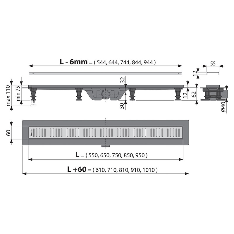 Set rigola de dus, AlcaPlast, Simple, cu capac, 85 cm