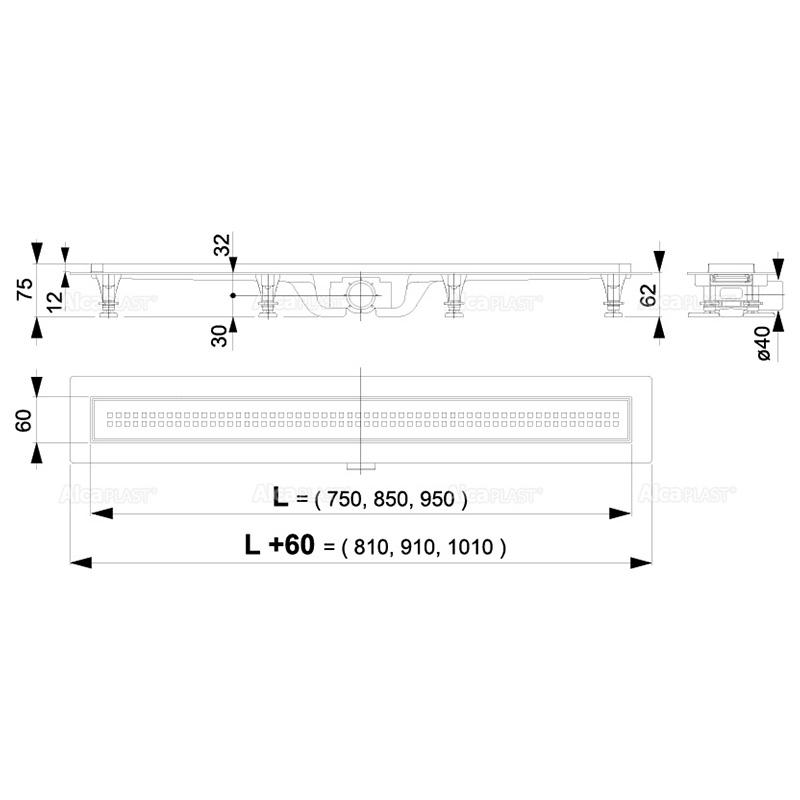 Set rigola de dus, AlcaPlast, Simple, cu capac, 75 cm