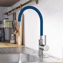 Baterie de bucatarie, Ferro, Zumba, cu pipa flexibila albastru