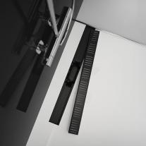 Rigola de dus AlcaPlast, Simple, cu capac, 65 cm, negru mat