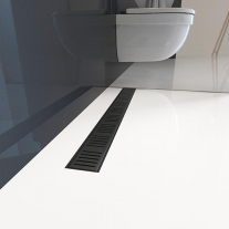 Set rigola de dus, AlcaPlast, Simple, cu capac, 85 cm, negru mat