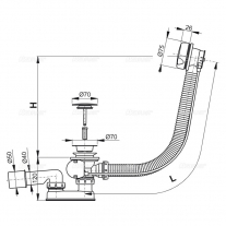 Sifon de cada, AlcaPlast, automat, cu preaplin, L=57 cm, alb