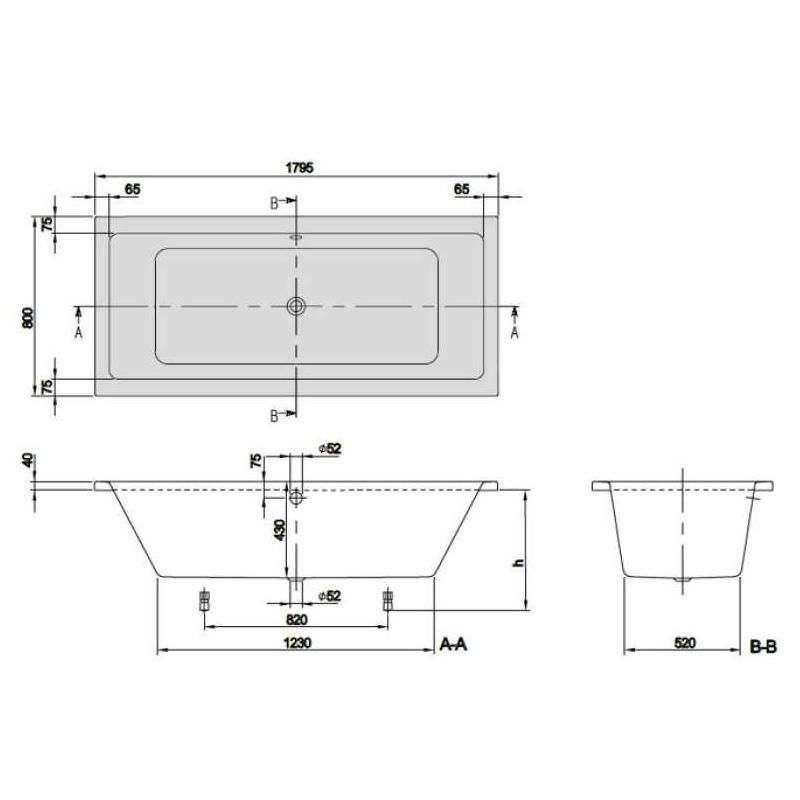 Cada dreptunghiulara Villeroy & Boch, Targa Plus Duo, 180 x 80 cm, alb alpin