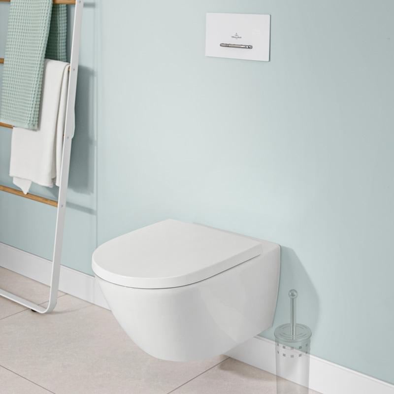 Vas WC suspendat, Villeroy & Boch, Subway 3.0, cu Twist Flush si capac cu soft close si quick release, alb