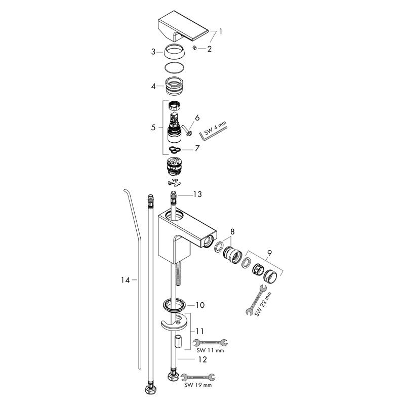 Baterie bideu cu ventil pop-up, Hansgrohe, Vernis Shape, crom