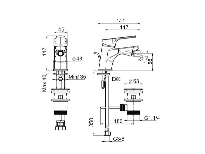 Desen tehnic, baterie bideu SERIA 4