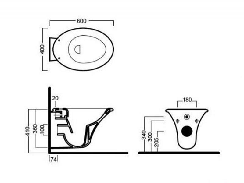 Desen tehnic vas WC suspendat SCULTURE