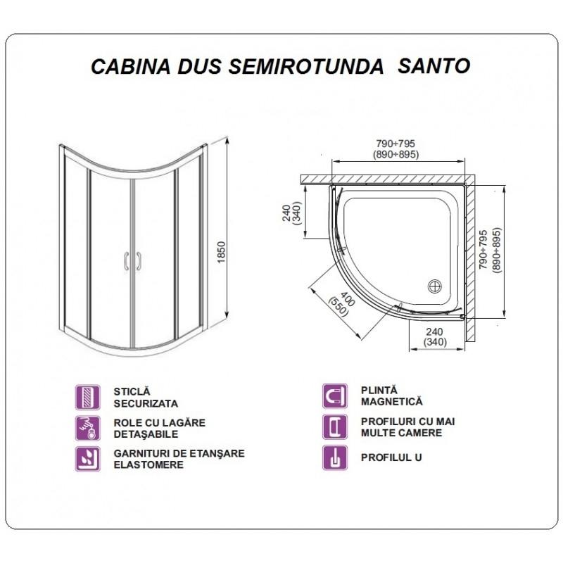 Desen tehnic Cabina de dus semirotunda, cu cadita si sifon, SANTO, 90 x 90 cm, crom