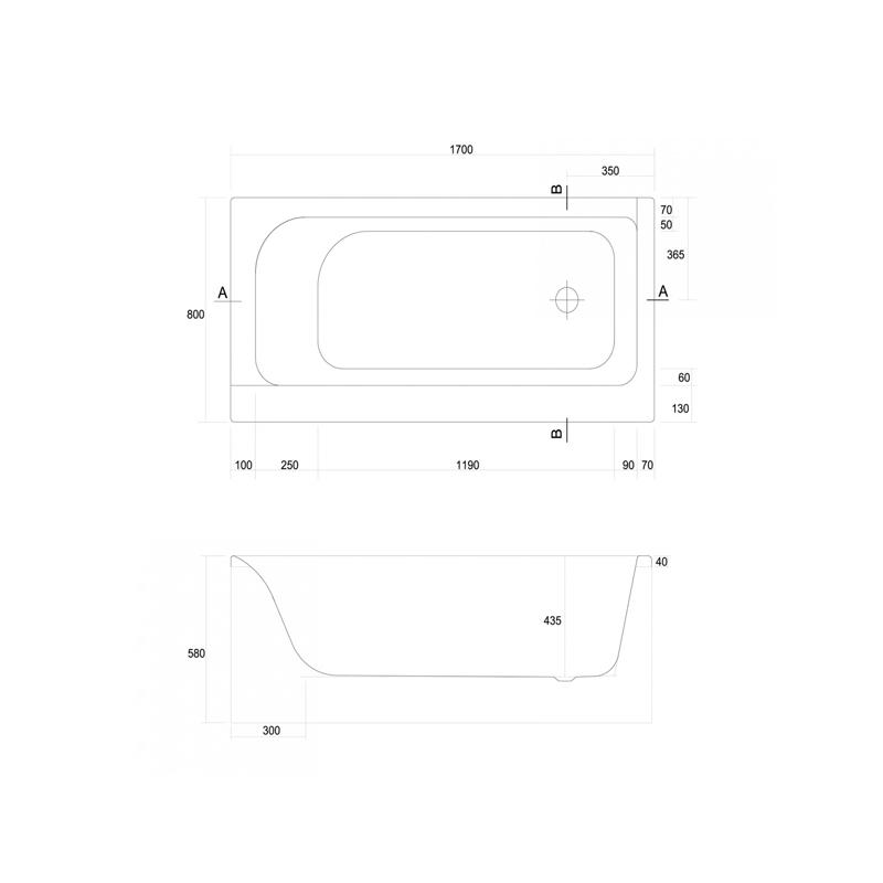 Mobilier pentru cada, 170 cm, alb, Smart
