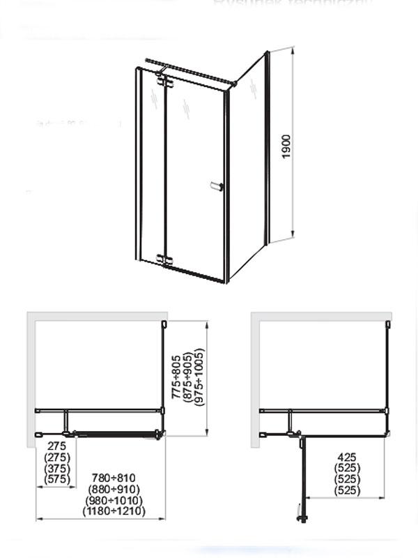Desen tehnic usa + perete cabina Verra Line