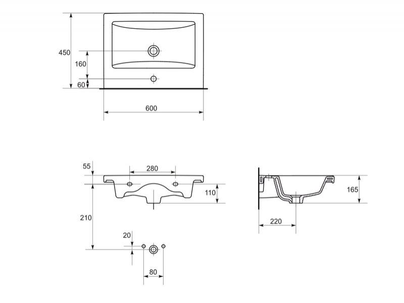 Desen tehnic lavoar pe mobilier, COMO