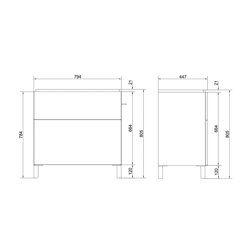 Mobilier Cersanit, Smart, pentru lavoar Smart, cu doua sertare, 80 cm, alb,