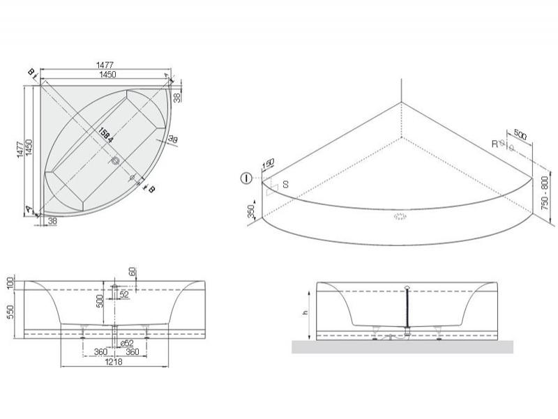 Cada simetrica, de colt, 145 x 145 cm, Squaro