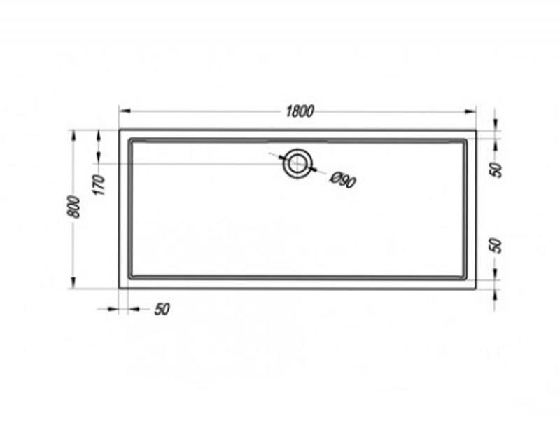 Desen tehnic cadita de dus FLAMENCO, 180 x 80
