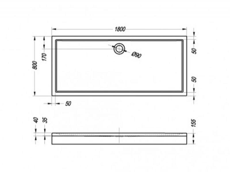 Desen tehnic cadita de dus FLAMENCO cu masca, 180 x 80