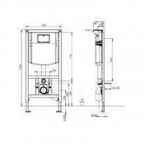 Rezervor ingropat Villeroy and Boch, ViConnect, pentru vas wc suspendat, 111 cm
