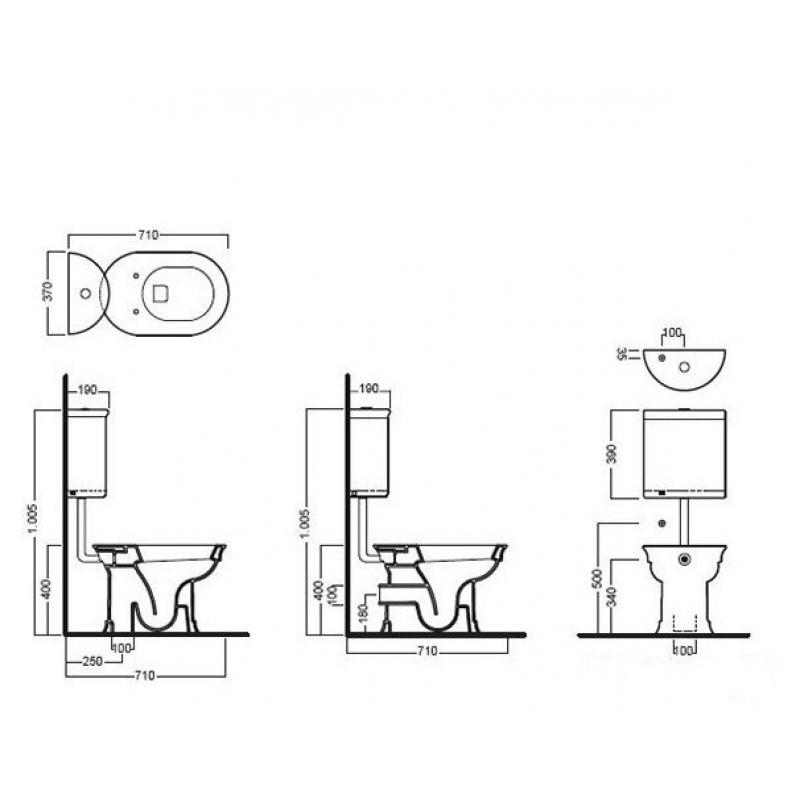 Vas WC stativ Hatria, Dolcevita, iesire verticala, alb