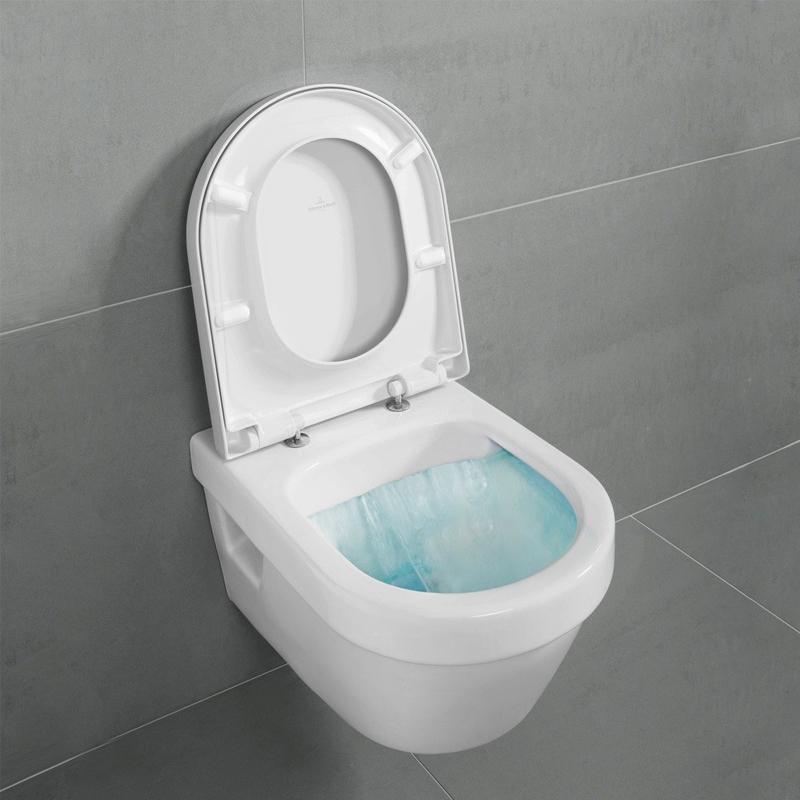 Vas WC rotund, suspendat, direct flush, cu capac soft close, alb, Arhitectura