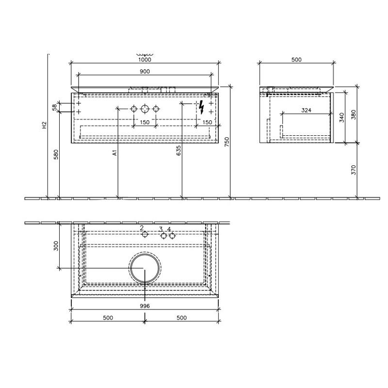 Mobila suspendata pentru lavoar pe mijloc, 100 cm, elm impresso, Legato