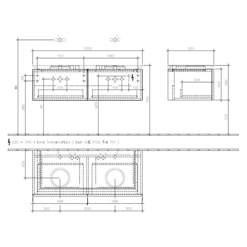 Mobilier suspendat pentru doua lavoare, 120 cm, elm impresso, Legato