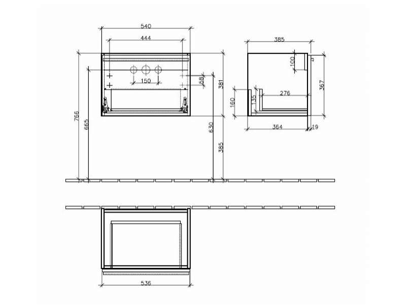 Desen tehnic Set Central Line, mobilier suspendat + lavoar Memento, 60 cm