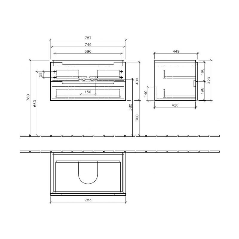 Mobilier suspendat pentru lavoar, 80 cm, elm impresso, Subway 2.0