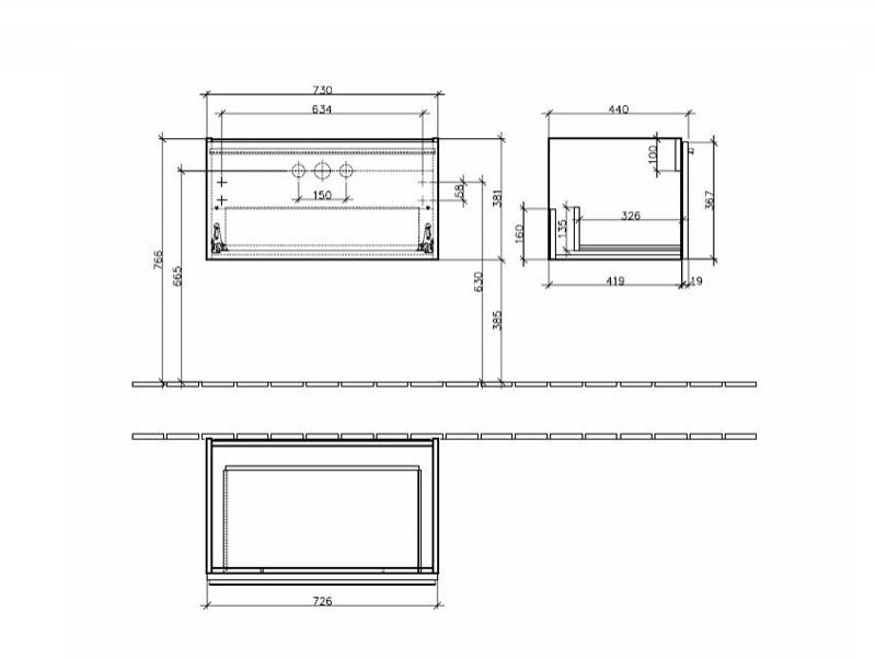 Desen tehnic Set Central Line, mobilier suspendat + lavoar Memento, 80 cm
