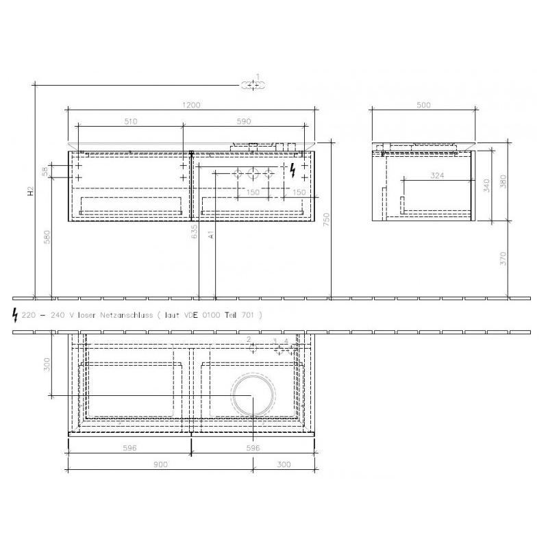 Mobilier suspendat pentru lavoar, pe dreapta, cu iluminare, 120 cm, terra matt, Legato
