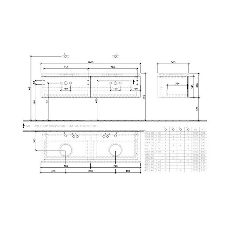Mobilier suspendat pentru doua lavoare, elm impresso, 160 cm, Legato