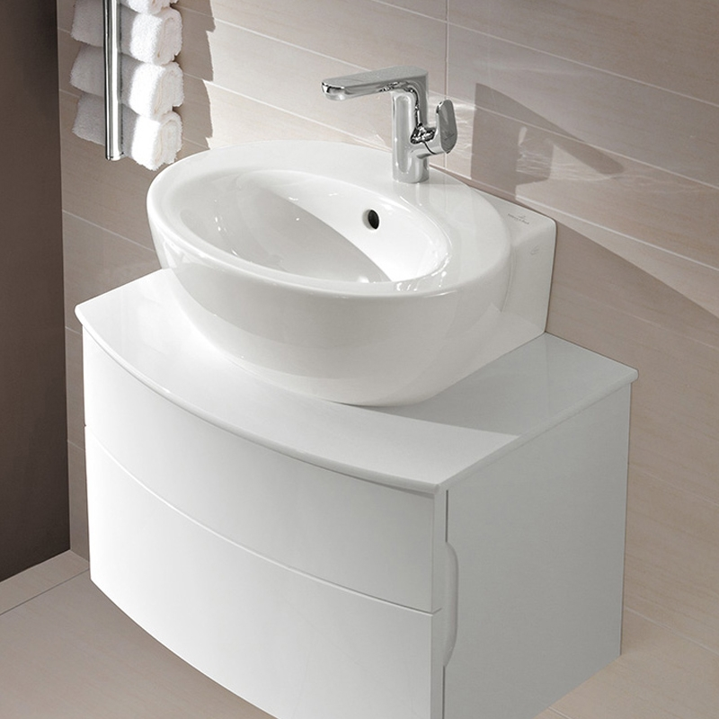 Lavoar suspendat, oval, 50 cm, alb alpin, Aveo New Generation
