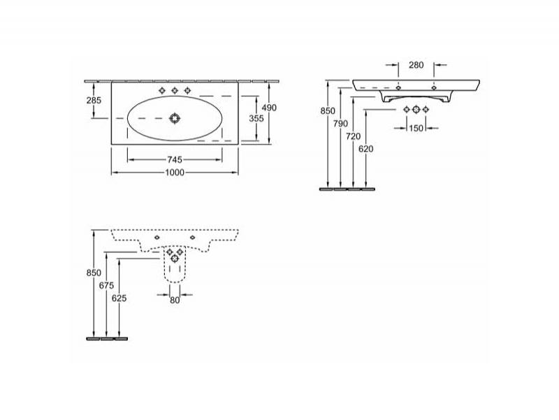 Desen tehnic Lavoar suspendat, fara preaplin, alb alpin, 100 cm, La Belle
