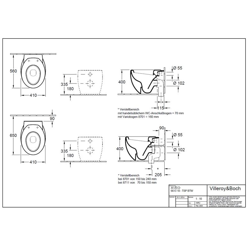Desen tehnic Vas WC suspendat, alb, 40 cm, Aveo New Generation