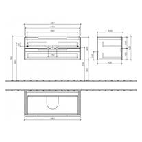 Mobilier suspendat pentru lavoar, 100 cm, oak graphite, Subway 2.0