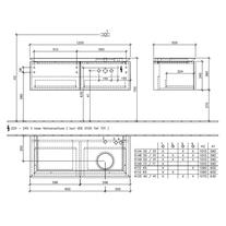 Mobilier suspendat pentru lavoar pe dreapta, cu iluminare, 120 cm, elm impresso, Legato