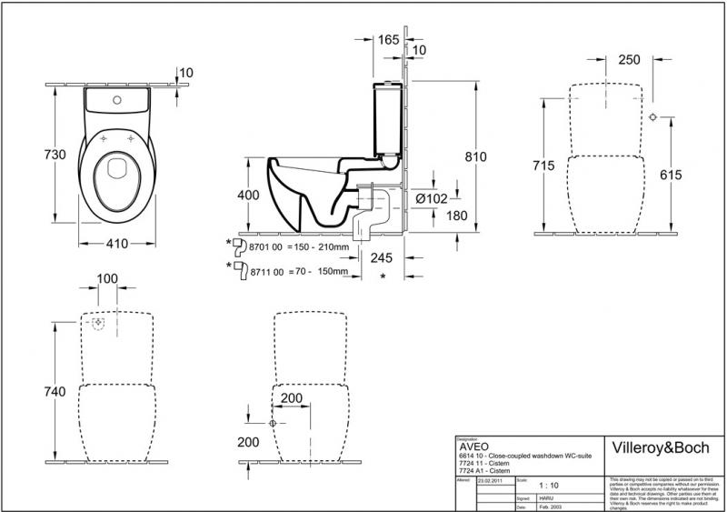 Desen tehnic Vas WC stativ, alb, 41 cm, Aveo New Generation