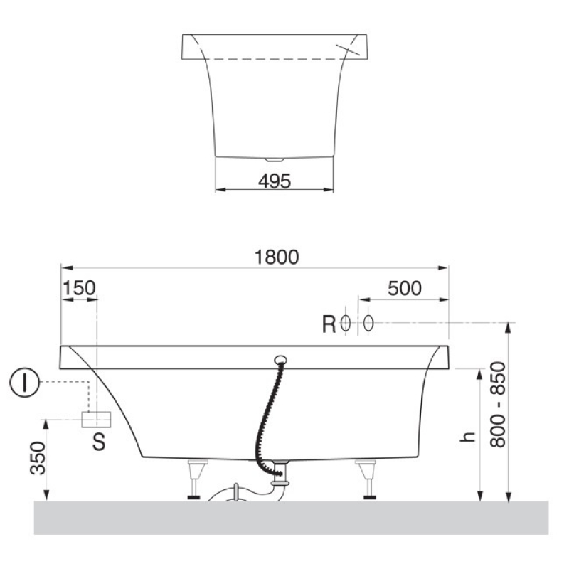 Cada dreptunghiulara, pentru inzidire, 180 x 80 cm, alb, Squaro