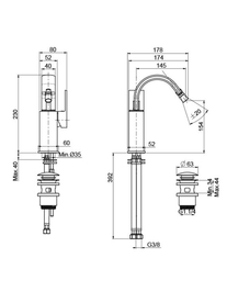 Desen tehnic baterie pentru bideu, BRICK