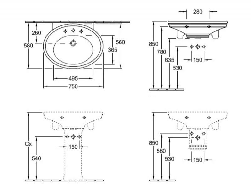 Desen tehnic Lavoar stativ, 78 cm, alb, Amadea