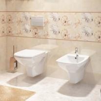 Set vas WC suspendat Cersanit, Carina, Clean On, cu capac soft close si easy off, alb
