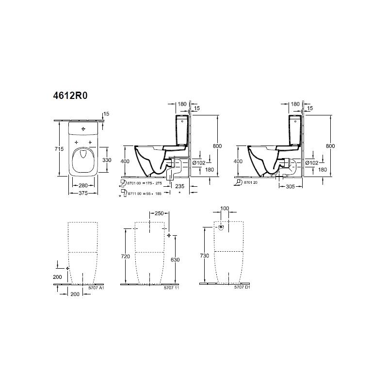 Vas WC monobloc stativ, direct flush, alb alpin, Venticello